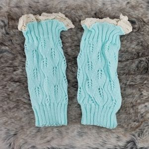 Anthropologie Teal and Lace Boot Toppers
